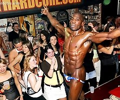Hot Amateur Chicks Go Nuts for Buff Black Stripper at Real European Strip Club